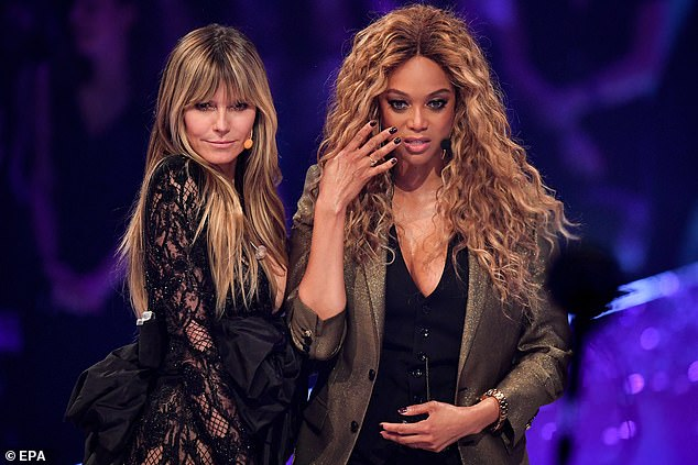 Strike a pose: Heidi and Tyra, also 45, proved they still had it as they flaunted their fabulous figures in plunging ensembles, while working the crowds with their smizing stares