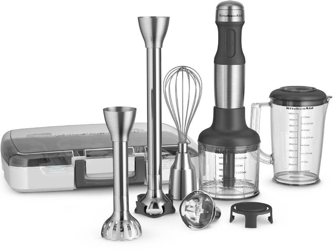 KitchenAid 5-Speed Hand Blender with Interchangeable Bell Blade & Removable Pan Guard Stainless Steel