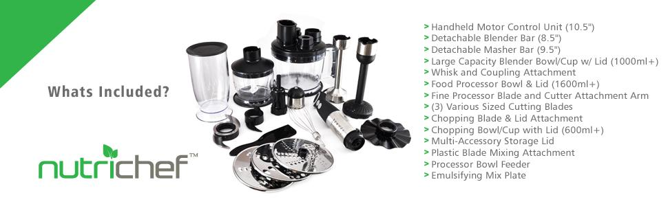 NutiChef Heavy Duty Food Processor and Immersion Blender