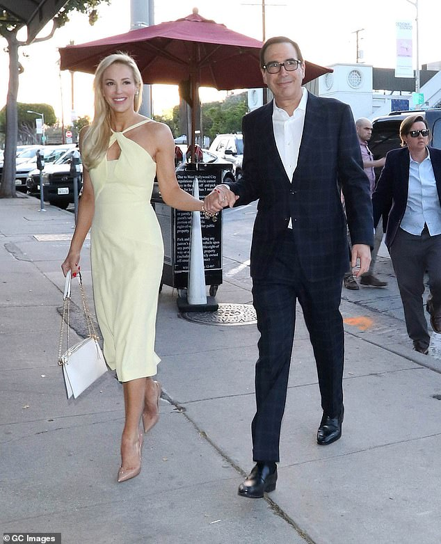 Louise Linton, the wife ofSecretary of the Treasury Steve Mnuchin (pictured together in May) is set out to prove that she is a vegan environmentalist who believes in diversity and makes sure to hire transgender actors on her films
