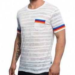 Andrew Christian T-Shirt California Burnout Stripe Blanc