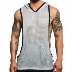 Andrew Christian Hoody Gym Athletic Mesh Gris