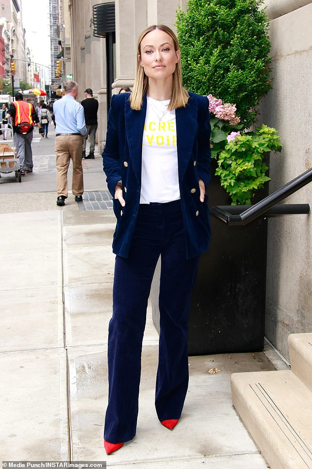 Suit smart! Olivia Wilde looked like she meant business as she stepped out in a sassy blue suit on Thursday