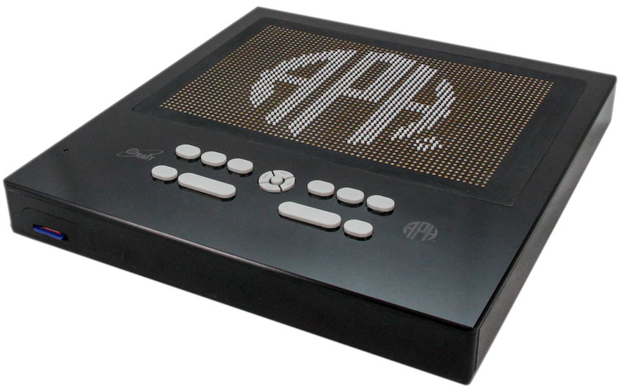 Prototype number 4 Graphiti, shown at angle with APH logo on display