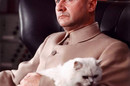 Donald Pleasence as Blofeld, with his white cat