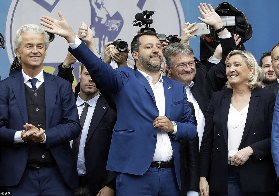 Hoping to topple the European old-guard are a coalition of nationalist, populist and far-right leaders including Dutch Geert Wilders (left), Italy's Matteo Salvini (centre), Germany's Jorg Meuthen (second right) and France's Marine Le Pen (far right)