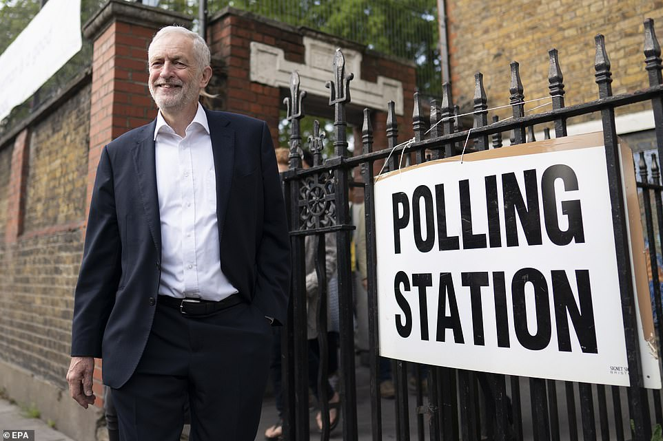 Labour party Leader Jeremy Corbyn leaves after voting in the European Parliament election at a polling station in Islington