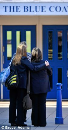 Pupils arrive arrive at the Blue Coat Church of England School today