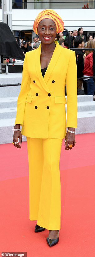 Glamour: Jury member Maimouna N'Diaye looked sensational in a yellow suit