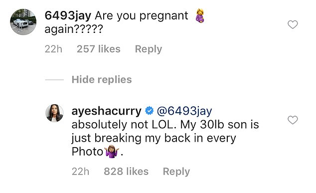 Nope! The post prompteda fan to ask if she was pregnant. Ayesha said 'absolutely not' and that she was jutting out her hip because her heavy son was 'breaking her back' in the picture