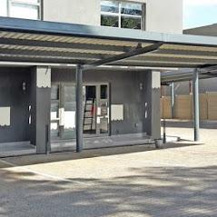 Chroma deck steel carport installed for business parking