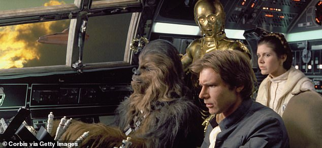 The way they were: Carrie with Chewbacca, C-3PO and Han Solo in The Empire Strikes Back