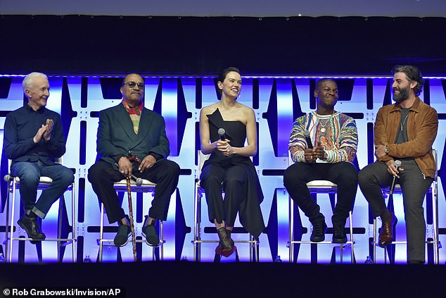 The big promo: from left, Anthony Daniels, Williams, Ridley, Boyega and Isaac participate during the Star Wars: The Rise of Skywalker panel on day 1 of the Star Wars Celebration in Chicago in April