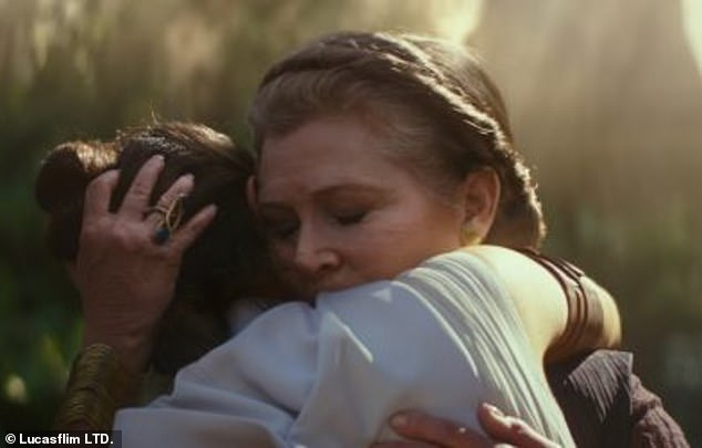 Here it is: In the Rise Of Skywalker trailer, Rey is seen hugging Leia. Old footage was carefully used with tweaked lighting