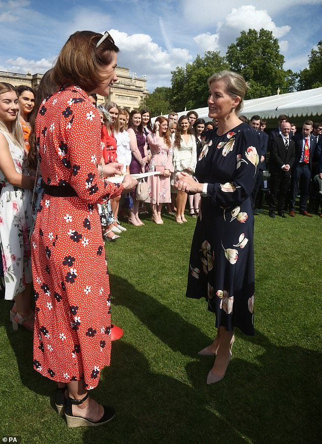 The Countess of Wessex, right, spoke with Dame Darcey Bussell at the event in London today