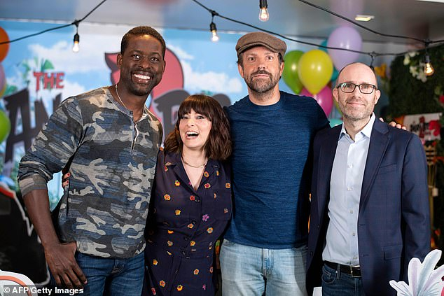 They're back! Angry Birds 2 hits theaters in the UK August 2 and in the US August 14; The three stars are pictured with producer John Cohen (right)