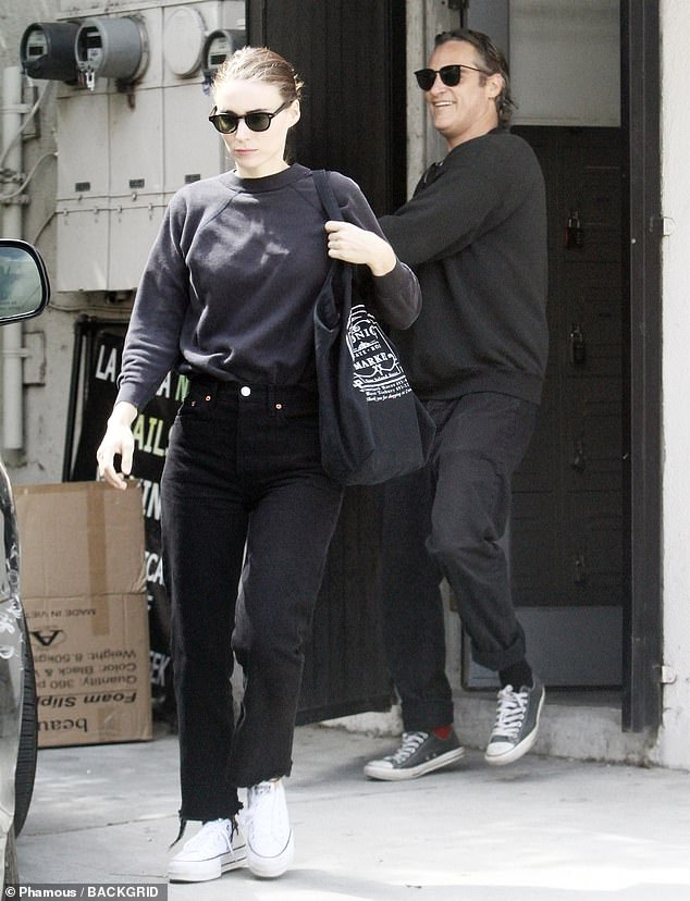 Date night: Joaquin Phoenix and Rooney Mara were spotted Saturday enjoying some quality time at a nail salon in Los Angeles