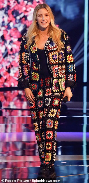 Funky:Ellie Goulding performed at the star-studded event in a funky jacket and matching trousers