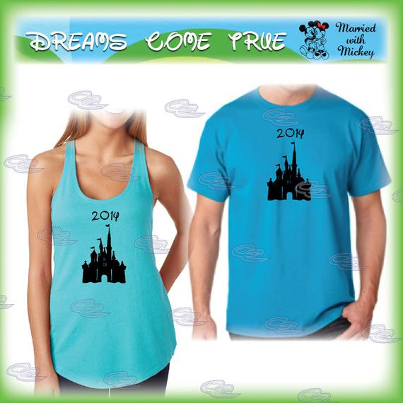 tshirt for Him and tank top for Her, mickey minnie mouse matching couple shirts for mr and mrs, mickey ears, disney castle, 253