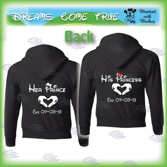 Her Prince His Princess Disney matching couple shirts, mickey minnie mouse mickey's hands with heart, custom date, 112
