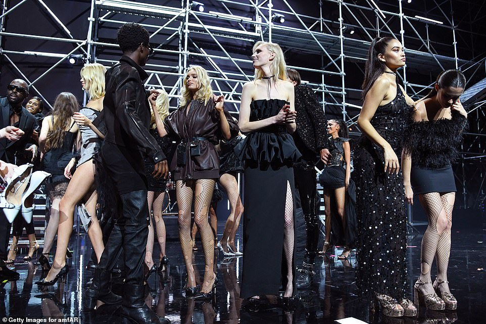 Stunning stars: The models' endless pins were on full display in their eclectic ensembles as they took to the stage at the event