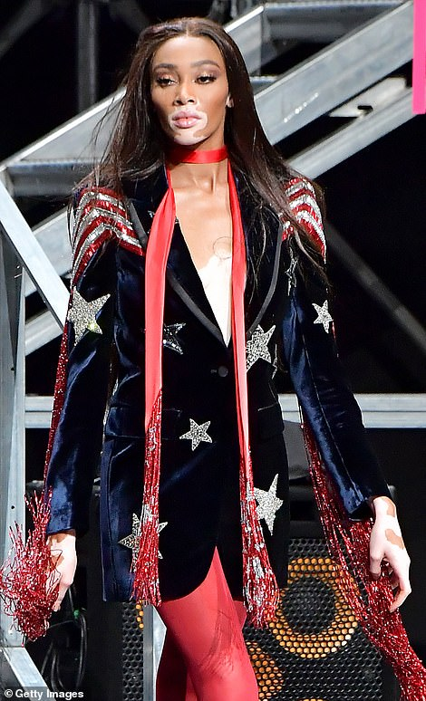 American beauty: Winnie seemed to be taking inspiration from her US roots with a Stars And Stripes themed blazer