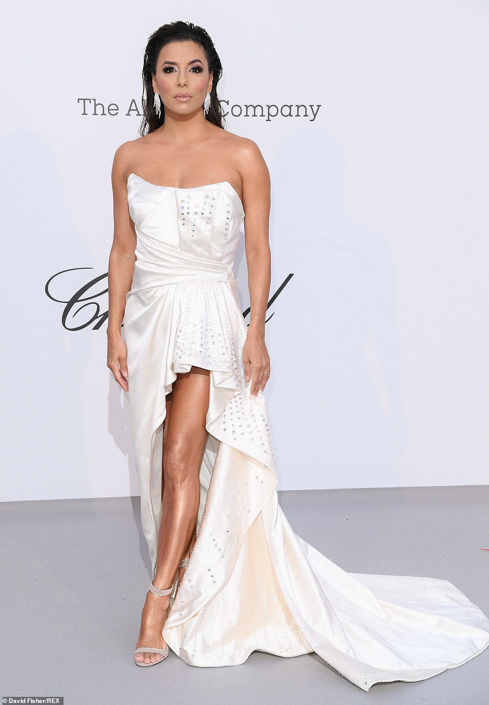 Perfection: The bridal inspired dress made the most of her petite figure and added to her frame with a nude strappy heels