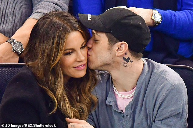 Former flame: Kate has been flying solo since she 'amicably' split from short term fling, Pete Davidson at the end of April, as they are pictured together in March