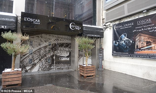 The outside of the Crystal Lounge in Paris, where Chris Brown is said to have met his alleged victim, is pictured today after the singer was arrested