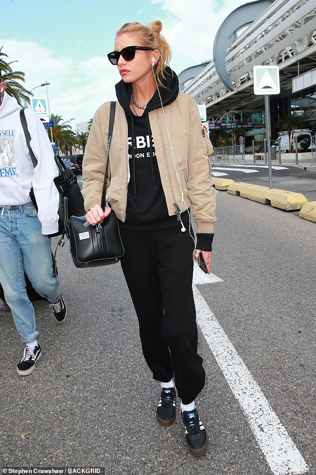 Arriving in style: Stella Maxwell also touched down in Nice