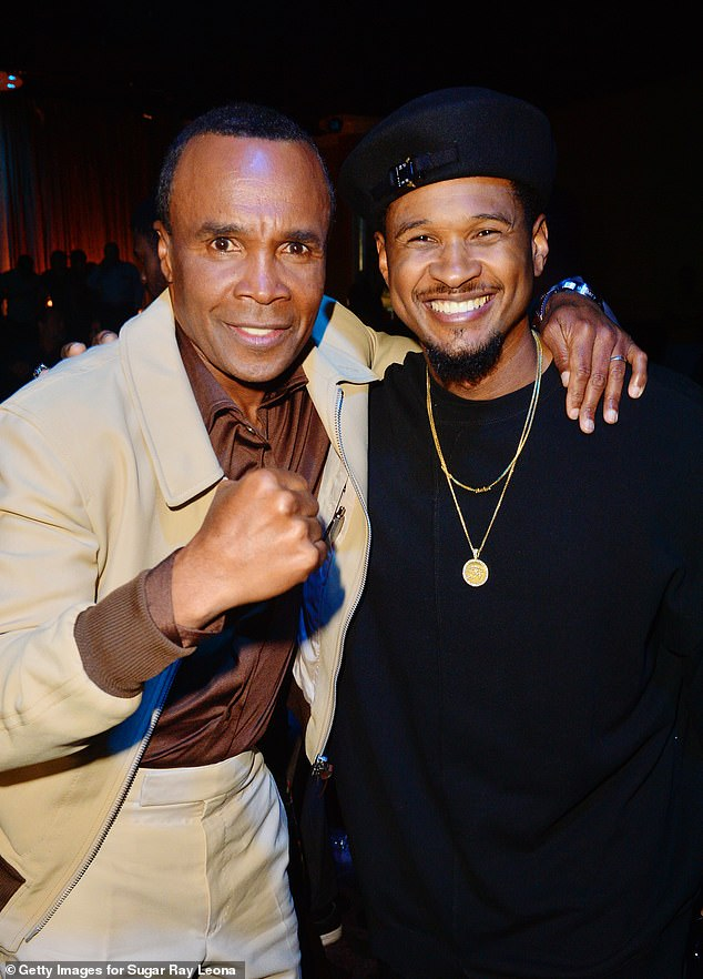 Stars: Usher was also on hand for the charity event; seen with Sugar Ray