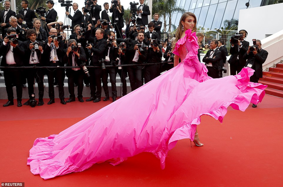 Fierce: German beauty Lorena, 24, turned her back to the cameras to show the full extent of her ensemble