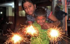Deepavali crackers with children