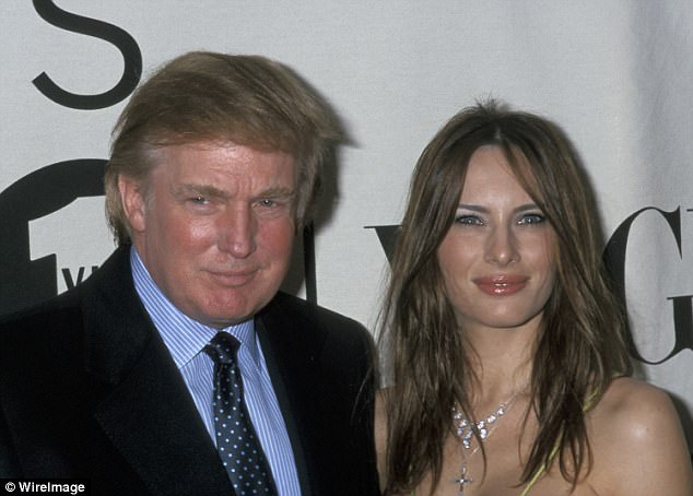 Corcoran's profile on Trump also displays how the businessman asked his golf pals if they liked the looks of his then-girlfriend Melania (above together in 2000)