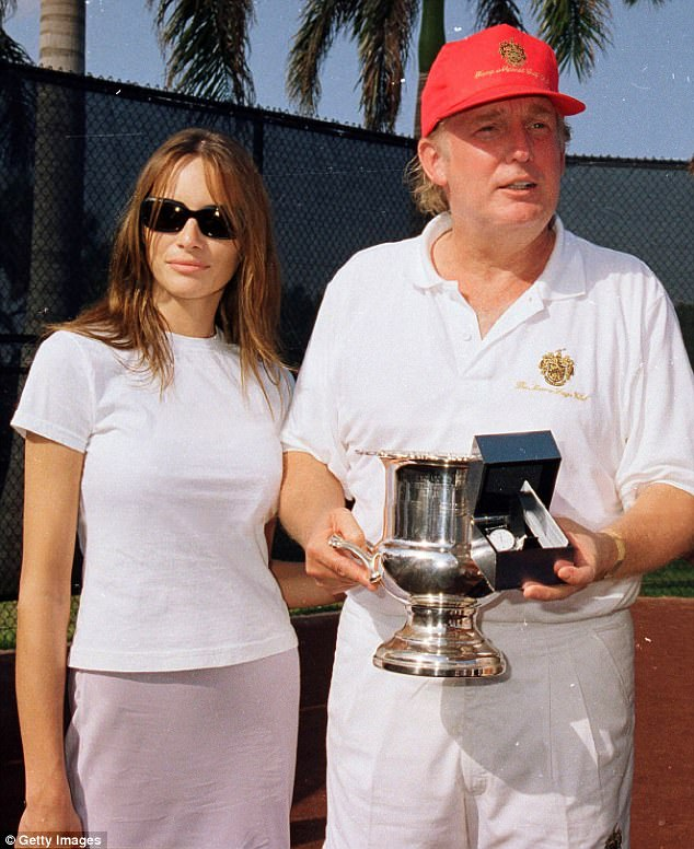 While Donald Trump was being profiled in 2000 for the now-defunct Maximum Golf magazine, the businessman reportedly boasted to writer Michael Corcoran 'there is nothing in the world like first-rate p**sy'. Above with then girlfriend Melania Knauss in 2000 at Mar-a-Lago