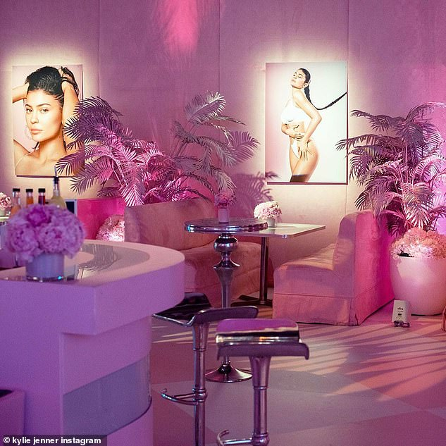 Self love: The space featured diner-style booths for guests, which were decorated with steamy portraits of the host