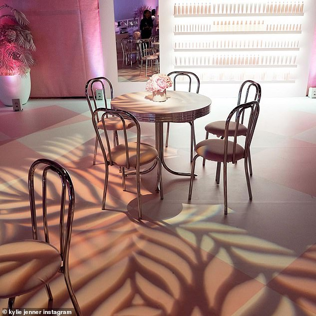 Little details: Though much of the party was painted pink, the photos revealed that the interior was done up in shades of peach and lavender before being bathed in pink light