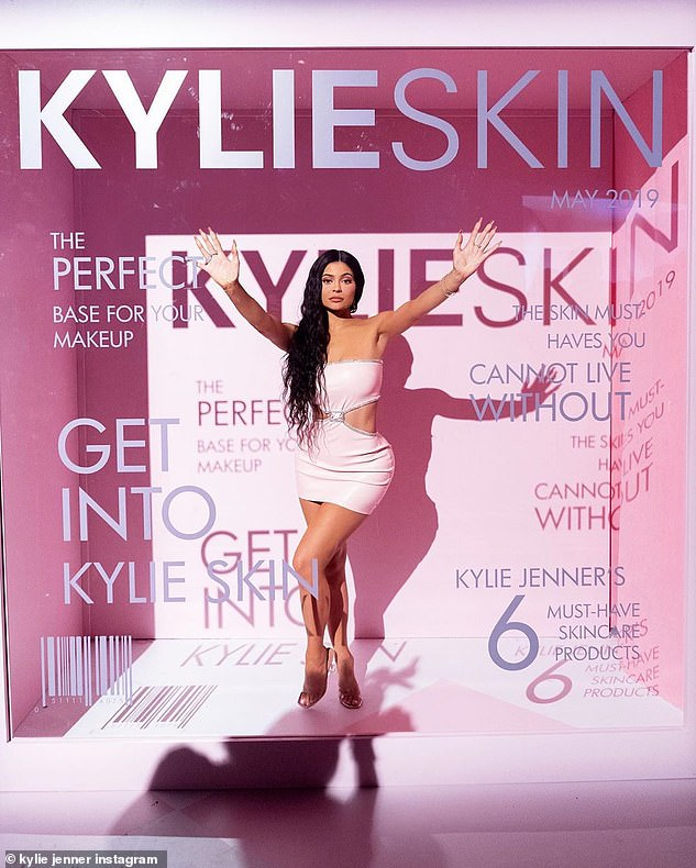 Big time: The skincare launch party featured a giant glass window with advertisements for Kylie Skin done up to look like a magazine cover
