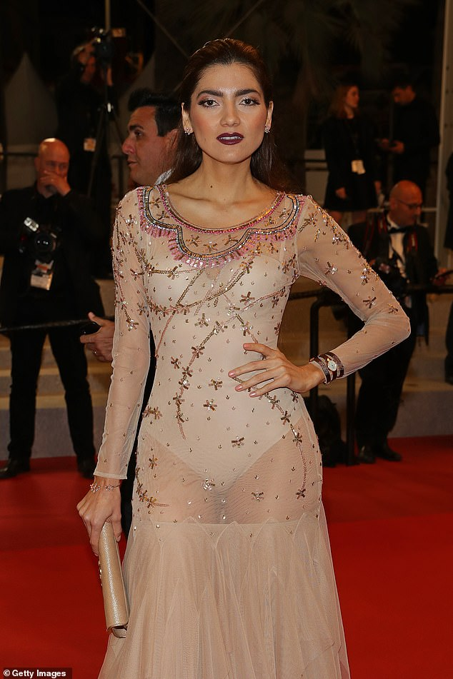 Jaw-dropping: The actress turned heads in a see-through dress which revealed her nude leotard underneath as she walked the red carpet at The Cannes Film Festival
