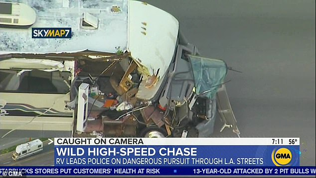 The motor home suffered heavy damage to its hood and right side, and was left with its windshield hanging on its hinges and right door ripped off