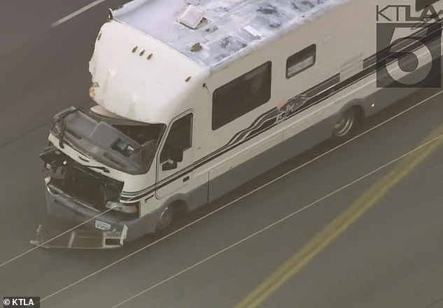 The RV was seen careening at speeds of up to 60mph from Santa Clarita into the San Fernando Valley
