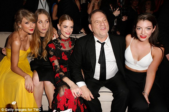 Harvey Weinstein pictured before his downfall, with (from left to right) Taylor Swift, Este Haim, Jaime King and Lorde at a 2015 party
