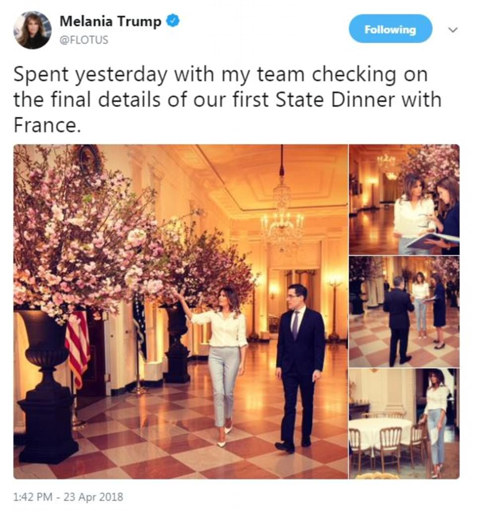 On Monday, first lady Melania Trump tweeted out several photos of the preparations she was making for her first state dinner, which will be held Tuesday with the French president and first lady
