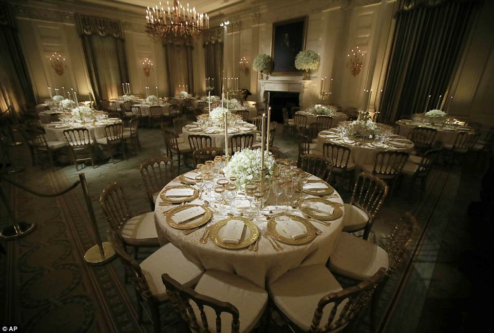The dinner will take place in the State Dining Room, which can hold about 100-150 seated guests