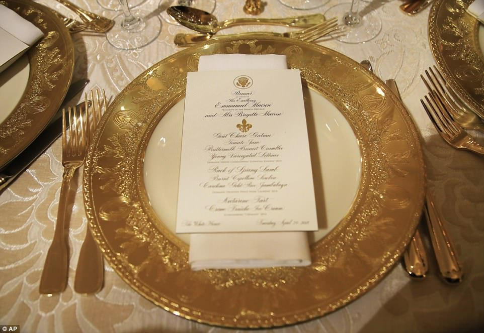 The State Dining Room at the White House is set for the first State Dinner that President Donald Trump will host as president with French President Emmanuel Macron in Washington. The State Dinner will be held on Tuesday night