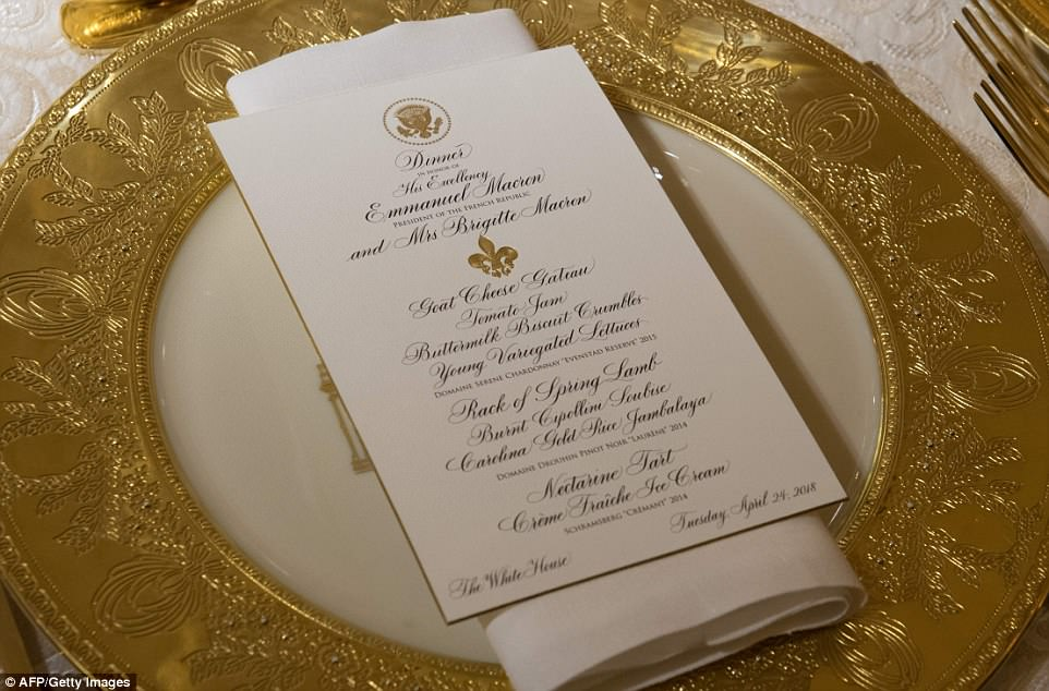 Touches of gold were used on the menu too, including a golden presidential seal, and a golden fleur-de-lis
