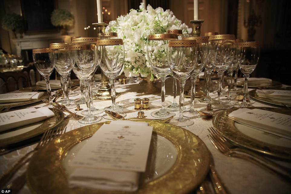 Mrs. Trump chose Clinton china services to coordinate with the dinner¿s cream and gold color scheme, and Bush china with a green color palette to ¿compliment the spring garden and white flowers that will be featured in the State Dining Room¿