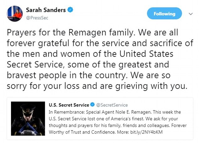 White House Press Secretary Sarah Sanders sent out this tweet before the president's trip to JBA was announced