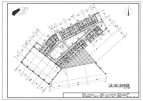 青少年活动中心施工图深化设计二层A区综合顶面图