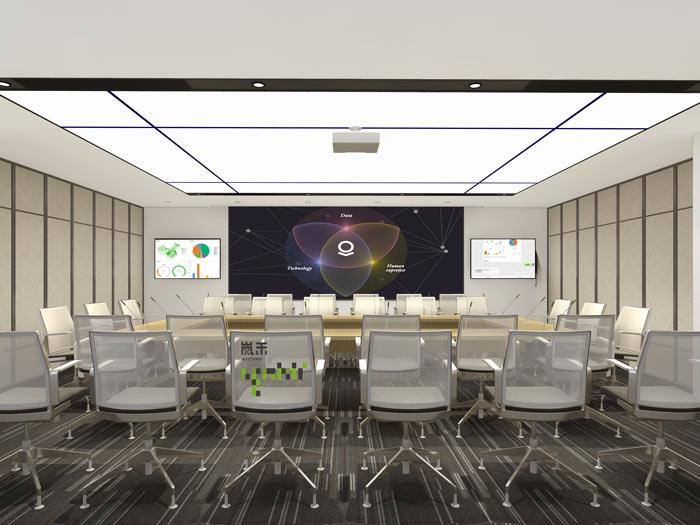 互联网媒体办公室大会议室装修设计案例效果图